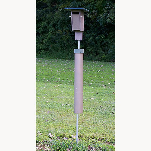 Deluxe Poly-tuff Bluebird House shown with Included Aluminum Pole and Pole Guard