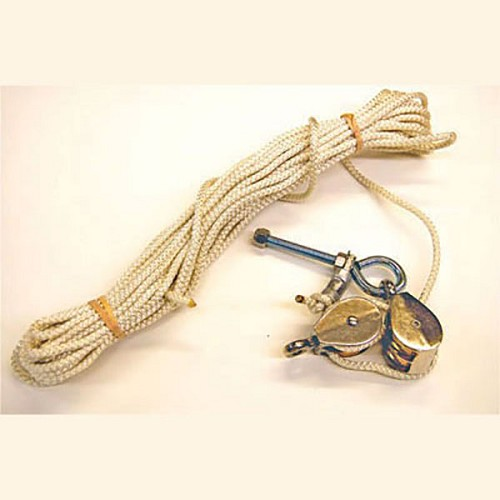 Rope with Double Pulley and stainless eyebolt with hardware