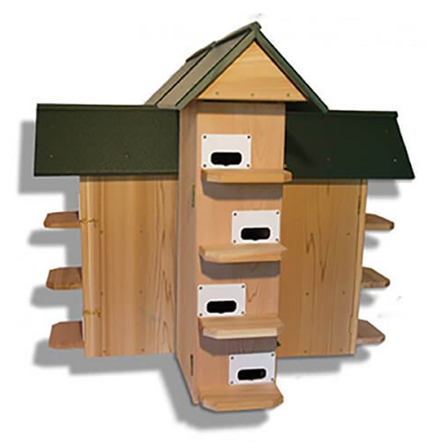 Troyer's T-14 Purple Martin CEDAR House with GREEN Poly-roof